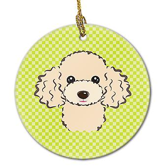 Checkerboard Lime Green Buff Poodle Ceramic Ornament