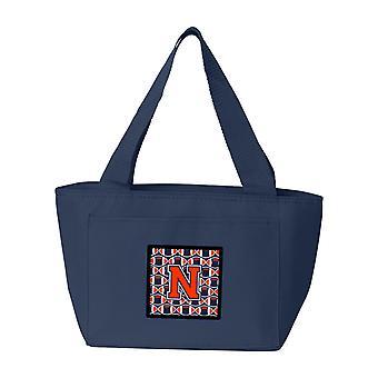 Buchstabe N Fußball Orange, blau und weiß Lunch Bag