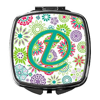 Letter T Flowers Pink Teal Green Initial Compact Mirror