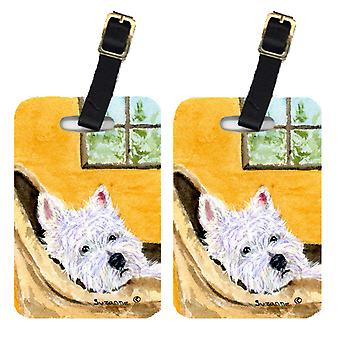 Carolines tesori SS8785BT coppia di 2 Westie Luggage Tags