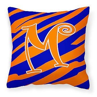 Monogram Initial M Tiger Stripe Blue and Orange Decorative Canvas Fabric Pillow