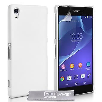Yousave tilbehør Sony Xperia Z2 vanskelig Hybrid Case - hvit