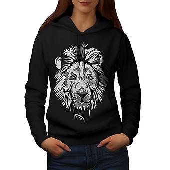 Lion beest kalm dierlijke vrouwen BlackHoodie | Wellcoda