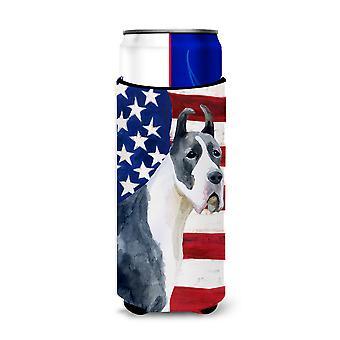 Harlequin Great Dane Patriotic Michelob Ultra Hugger for slim cans