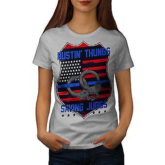 Saving Juggs Women GreyT-shirt | Wellcoda