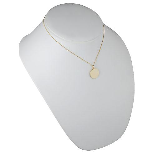 18ct Gold 20mm round plain Disc with a light curb chain