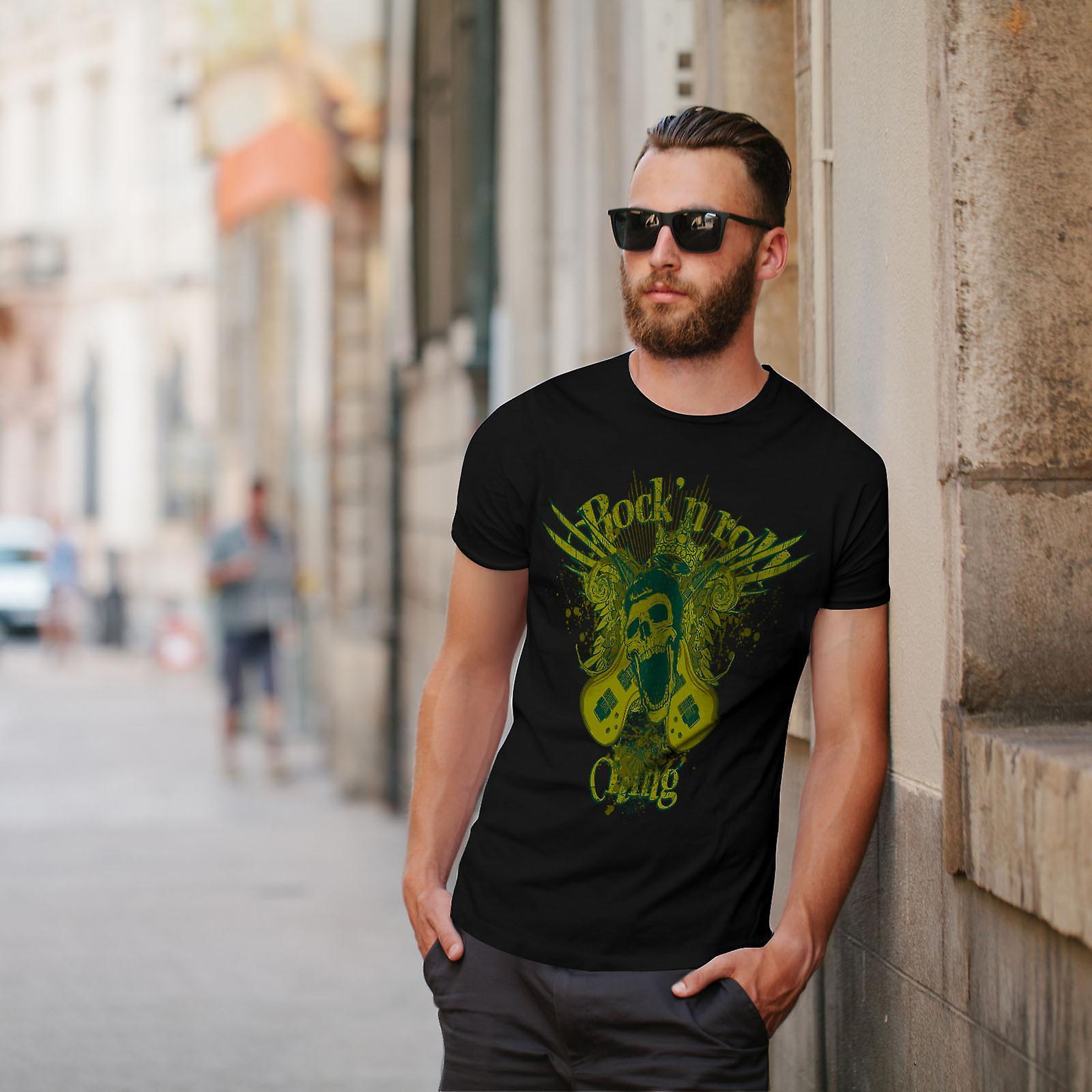 Rock N Roll Gang Music Men Black T-shirt | Wellcoda