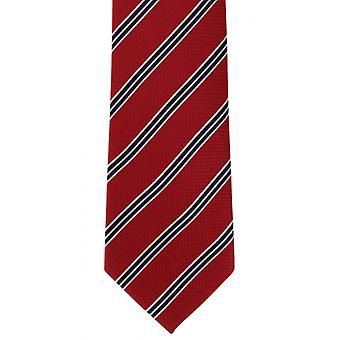 Michelsons of London College Stripe Silk Tie - Red