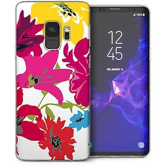 Samsung Galaxy S9 Floral Splash Gel de TPU – blanco