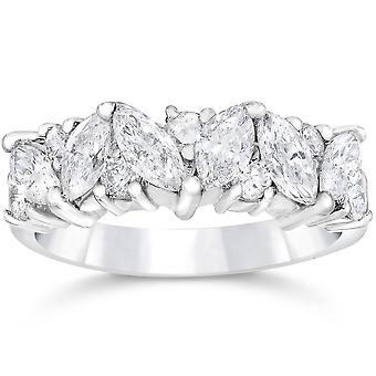 1 1 / 2ct chique Marquise diamante aliança Womens empilhável banda 14K ouro branco