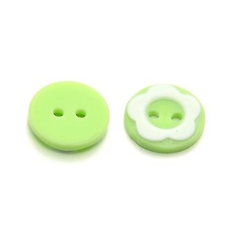 Packet 10 x Lime Green/White Resin 13mm Round 2-Holed Sew On Buttons HA14280