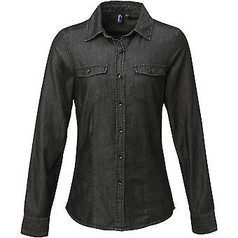 Premier Womens/Ladies Jeans Stitch Denim Smart Casual Business Shirt