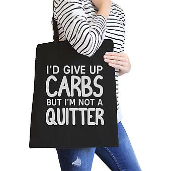 Carbs Quitter Black Canvas Shoulder Bag Foldable Workout Tote Bag