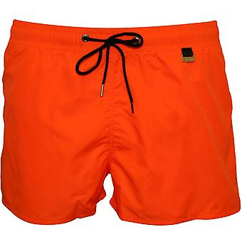 HOM Marina Swim Shorts, Orange With Yellow Inner Contrast