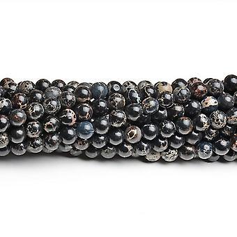 Strand 60 + nero impressione Jasper 6mm tingono perline pianura CB41820-2