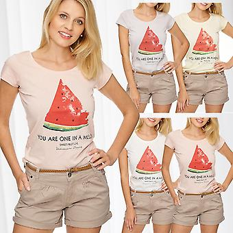 Ladie's T-Shirt Top Casual Print Summer Melon Pastel Blogger Insta Style
