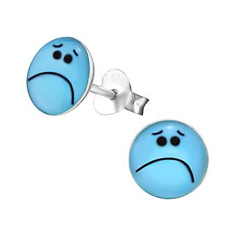 Sad Face - 925 Sterling Silver Colourful Ear Studs