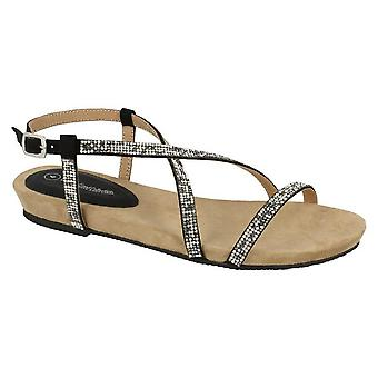 Leather Collection Womens/Ladies Diamante Cross Strap Sandals