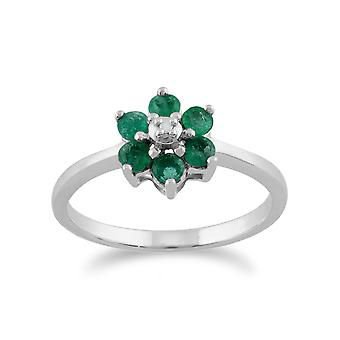 9ct White Gold 0.44ct Natural Emerald & Diamond Floral Cluster Ring