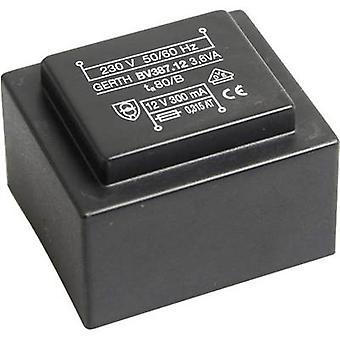 PCB mount transformer 1 x 230 V 1 x 8 V AC 3.60 VA 450 mA PTG380801 Gerth