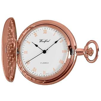 Woodford Rose Gold Polished Full Hunter Mechanical Pocket Watch - Rose Gold