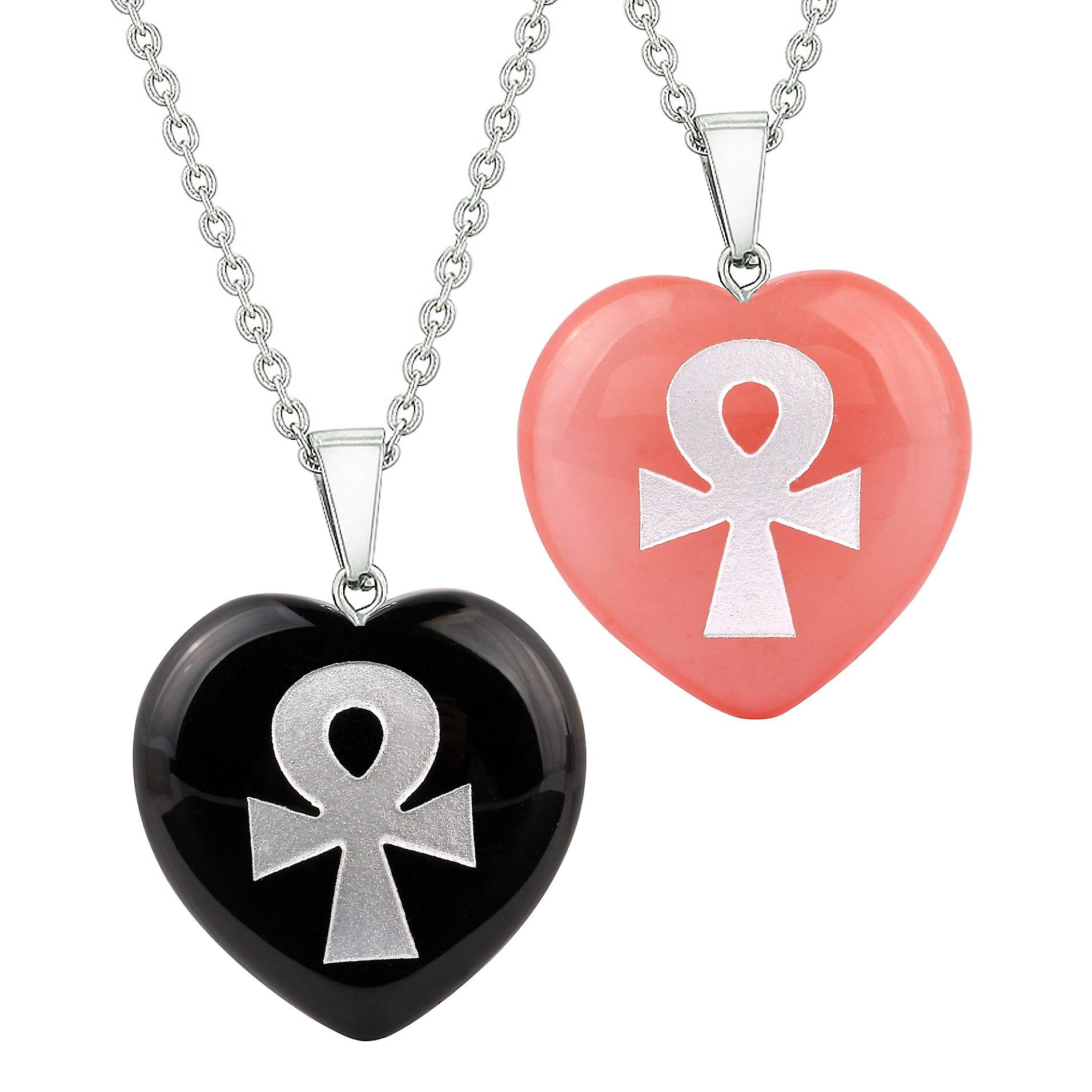 Heart Amulets Ankh Egyptian Powers of Life Couples Best Friends Agate Simulated Quartz colliers