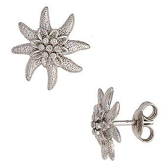 Studs EDELWEISS rhodium plated 925 Sterling Silver earrings silver partially frosted