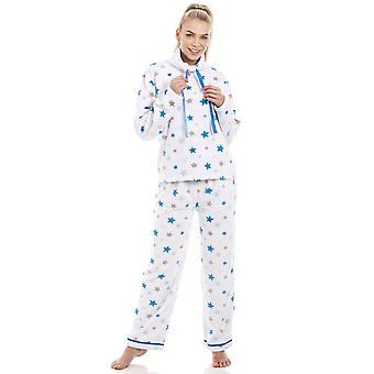 Camille White Supersoft Fleece Blue And Grey Star Pyjama Set