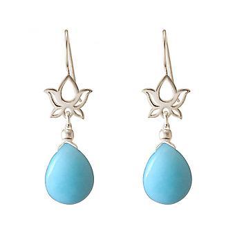 Drops ladies - earrings - earrings - 925 Silver - Lotus Flower - mandala - turquoise - - blue - YOGA - 4 cm
