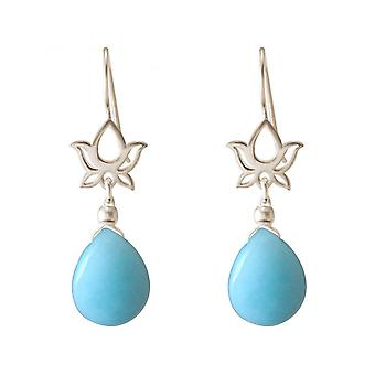 Damen - Ohrringe - Ohrhänger - 925 Silber - Lotus Blume - Mandala - Türkis - Tropfen - Blau - YOGA - 4 cm