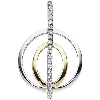 Gold-plated charm 925 sterling silver 20 cubic zirconia silver pendant bicolor