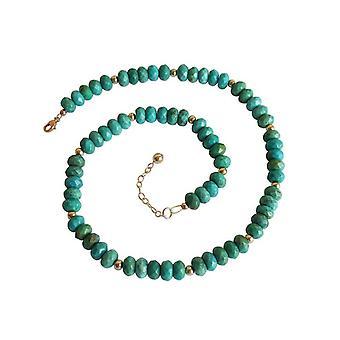 Collier turquoise ANJA Türkis chaîne chaîne turquoise or plaqué
