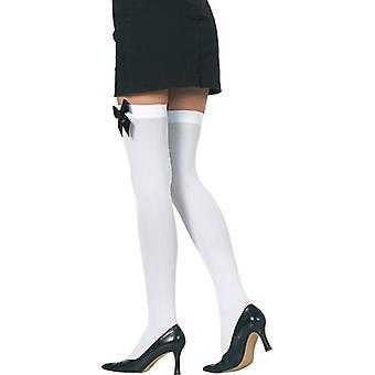 Medias blancas con lazo negro overknee accesorios carnaval