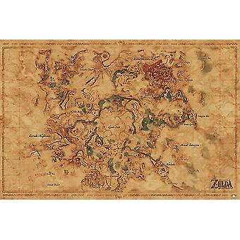 The legend of Zelda posters breath of the game Hyrule world map