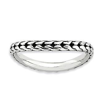 2.25mm Sterling Silver Polished Patterned Antique finish Stackable Expressions Antiqued Wave Ring - Ring Size: 5 to 10