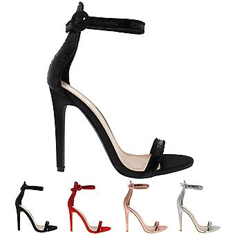 Womens Sequin Glitter Ankle Strap High Heel Sandal Eveing Party Chic Shoe UK 3-8