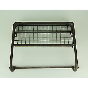 Rustic Industrial Metal Wire Wall Shelf with Towel Holder