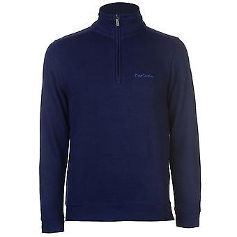 Pierre Cardin Mens Quarter Zip FBR Jumper Sweater Pullover Long Sleeve Funnel