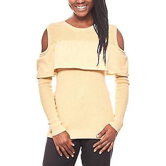 vivance collection feminine Flounce sweater with cut-outs beige