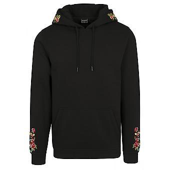 Mister te Fleece Hoody - svarta blommor broderi