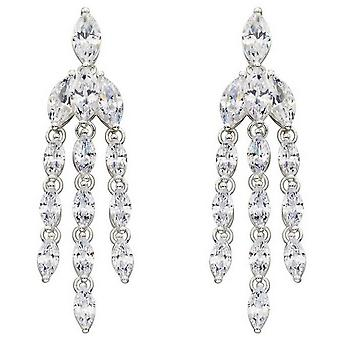 Elements Silver Cubic Zirconia Marquise Statement Earrings - Silver