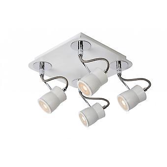 Lucide Samba Modern Square Metal White And Chrome Ceiling Spot Light