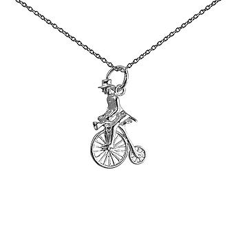 Silver 22x15mm Penny Farthing with rider in top hat Pendant with a 1mm wide rolo Chain 14 inches Only Suitable for Children