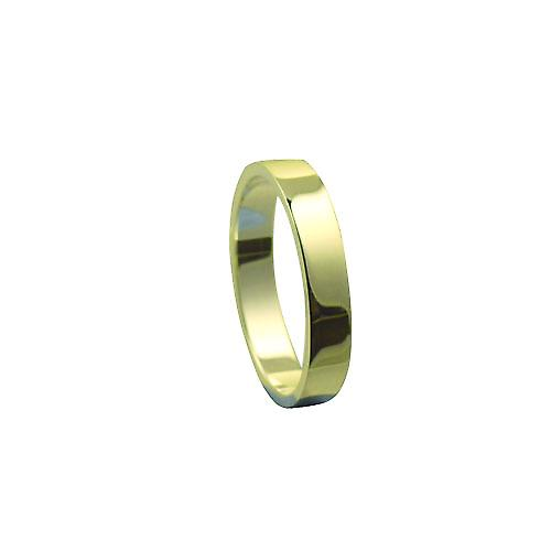 9ct yellow gold 4mm plain Flat wedding ring