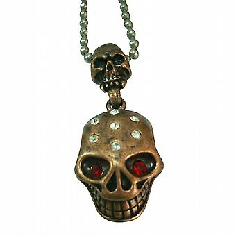 Halloween Jewelry w/ Two Skull Hagning w/ Red Eye Pendant Necklace