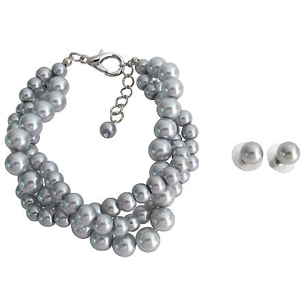 Wedding Set Bridesmaid Jewelry 3 Strand Gray Pearl Bracelet Stud Earrings