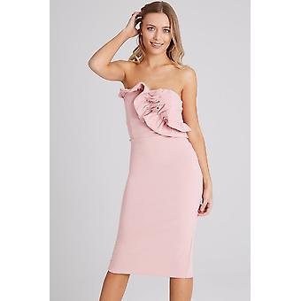 Girls on Film Halcyon Dusty Pink Frill Bandeau Dress
