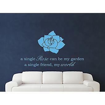 A Single Rose Wall Art Sticker - Arctic Blue