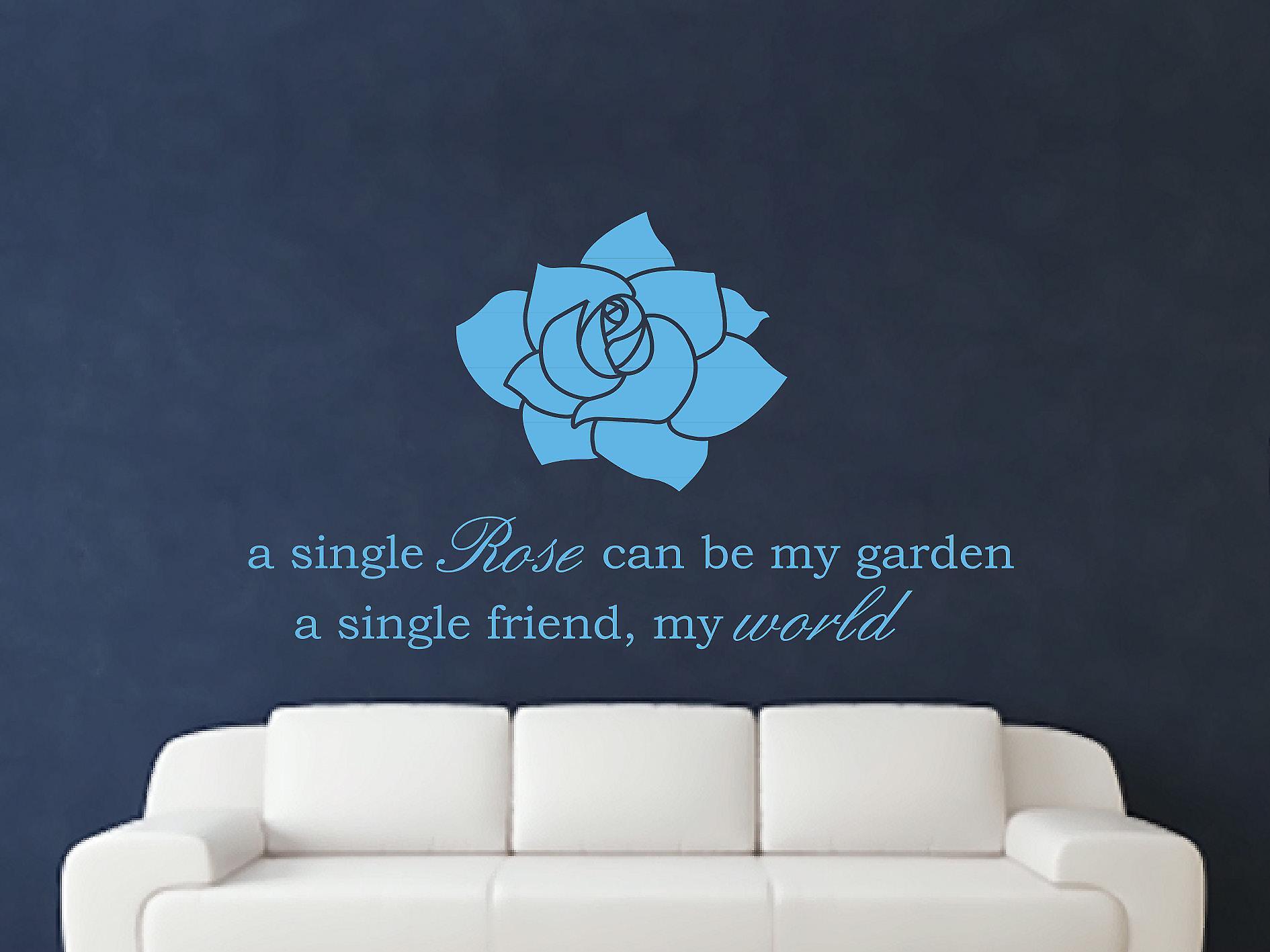 Een enkele Rose Wall Art Sticker - Arctic Blue