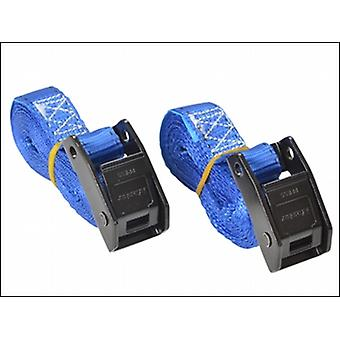 LASHING STRAPS WITH METAL BUCKLE 2.5M (PACK OF 2) COLOURED